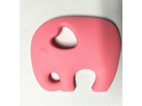 Kousátko silikonové - slon(1ks) - růžová