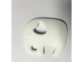 Kousátko silikonové - slon(1ks) - bílá