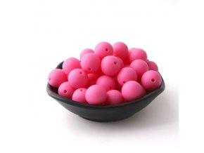 Silikonové korálky 20mm (1ks) - hot pink č.8