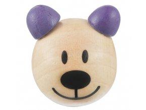 Dřevěná hlava medvídek OE24mm (2ks) - hnědá