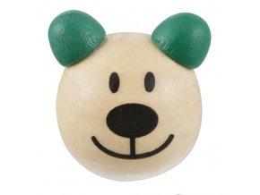 Dřevěná hlava medvídek OE24mm (2ks) - zelená