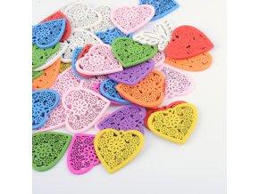 Dřevěné srdce 43mm (10ks) - barevný mix