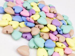 Dřevěné korálky srdce 20mm - barevný mix (5ks)