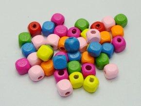 Dřevěné kostičky 10x10mm (20ks) - barevný mix