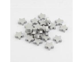 Dřevěné korálky hvězdičky 15mm (5ks) stříbrná