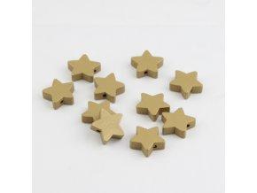 Dřevěné korálky hvězdičky 15mm (5ks) zlatá