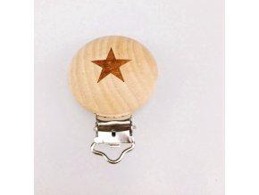 Klip na dudlík dřevěný (1ks) - hvězda