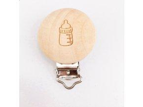 Klip na dudlík dřevěný (1ks) - lahvička