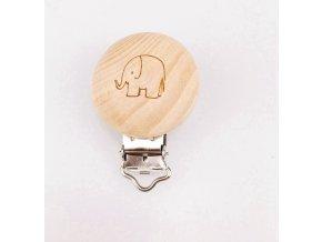 Klip na dudlík dřevěný (1ks) - slon