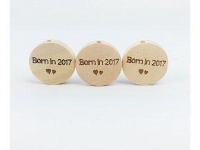 Dřevěné korálky disk 20mm (1ks) - BORN IN 2017