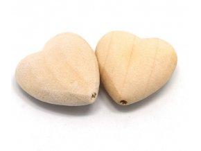 Dřevěné korálky srdce 21mm (2ks)