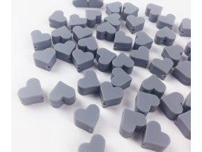 Silikonové srdíčko 14mm (2ks) - šedá
