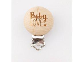 Klip na dudlík 30mm (1ks) dřevěný BABY LOVE