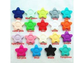 Kousátko silikonové - hvězda (1ks) - (hot pink)