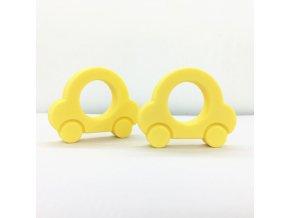 Kousátko silikonové - autíčko (1ks) - žlutá
