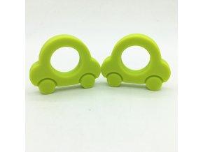 Kousátko silikonové - autíčko (1ks) - limetková