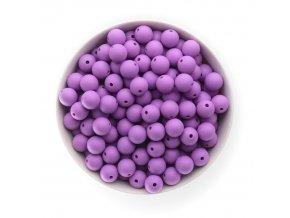 Silikonové korálky 12mm (10ks) - fialová