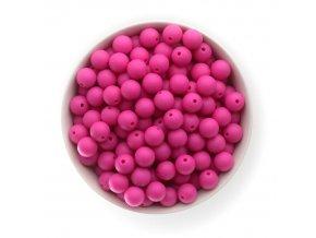 Silikonové korálky 12mm (10ks) - hot pink