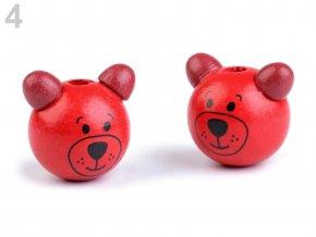 Dřevěná hlava medvídek OE24mm (2ks) - červená