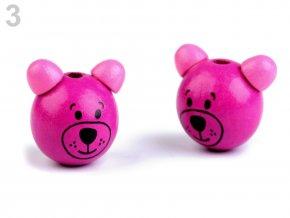 Dřevěná hlava medvídek OE24mm (2ks) - růžovofialová