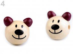 Dřevěná hlava medvídek OE24mm (2ks) - fialovorůžová