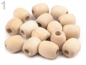 Dřevěné korálky nelakované oválek 18x20mm (10ks)