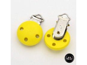 Klip na dudlík 28x28mm (1ks) - žlutá