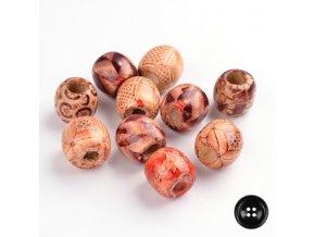 Dřevěné korálky Oliva 10x4mm (20ks) - etno mix