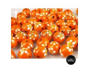 Dřev.korálky malované pr.16mm (10ks) - oranžová