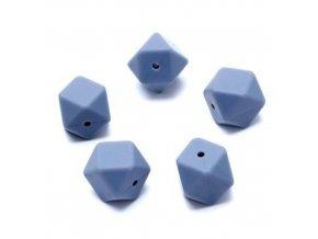 Silikonové korálky hexa 14mm (1ks) - powder blue