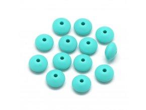 Silikonové korálky DISK 12mm (4ks) - turquoise