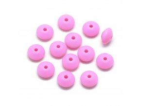 Silikonové korálky DISK 12mm (4ks) - pink
