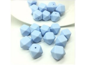 Silikonové korálky hexa 14mm (1ks) - candy blue