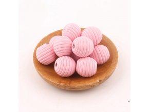 Dřevěné korálky vroubkované 18mm(10ks)-pink