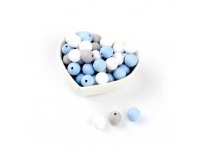 Silikonové korálky 15mm (10ks) - pastel blue mix