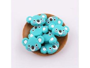 Korálky silikonové KOALA 35mm (1ks) - turquoise