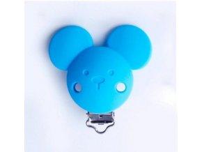 Klip na dudlík silikonový MICKEY (1ks) - blue