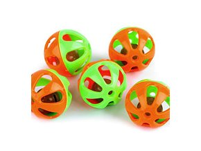 Chrastítko kulička Ø36 mm (5ks) - oranžová-zelená