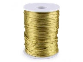 Saténová šňůra pr.2mm (10m) - zlatá tm.
