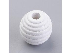 Dřevěné korálky vroubkované 18mm (10ks) - white