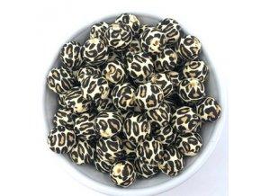 Silikonové korálky Ø15mm (10ks) - leopard