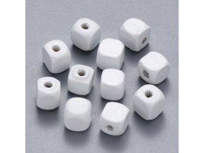 Dřevěné korálky kostky 10x10mm (50ks) - white