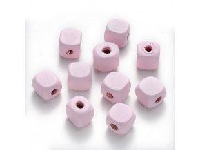 Dřevěné korálky kostky 10x10mm (50ks) - baby pink
