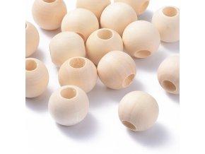 Dřevěné korálky Ø25mm (10ks) - velký průvlek
