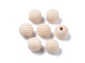 Dřevěné korálky Ø15mm (10ks) vroubkované