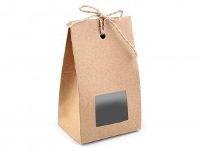 Papírová krabička natural s průhledem a provázkem
