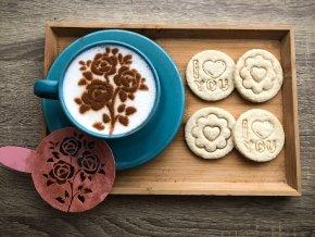 Růžičky - kávová šablona
