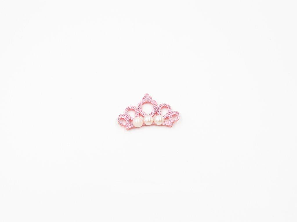 Aplikace koruna filc růžová + perly (š4.5 x v3cm) 15Kč