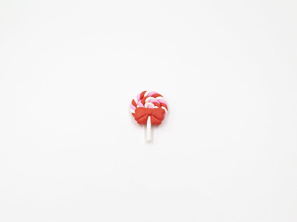 Aplikace lízátko fimo červeno růžové velké (š2.8 x v4.3cm) 25Kč