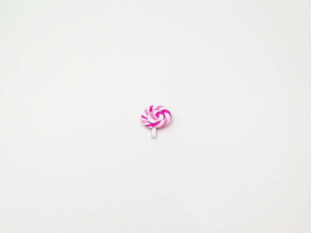 Aplikace lízátko fimo růžové malé (š2.1 x v2.6cm) 20Kč